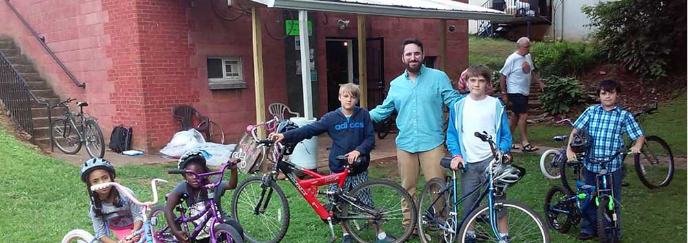 Children with new bikes